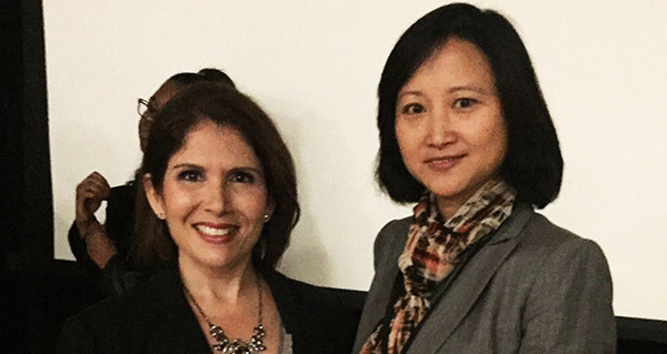 Illinois Lieutenant Governor Evelyn Sanguinetti (L) and Dr. Jun Zhao (R) at the the 2015 Manufacturing Day