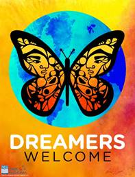Dreamers Welcome butterfly logo artwork.