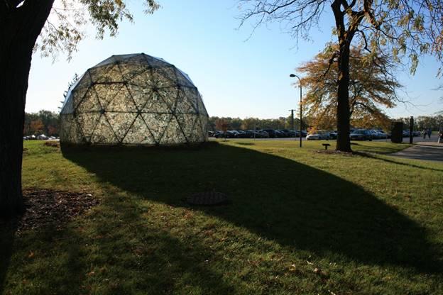 Geodesic dome sculpture on GSU campus.