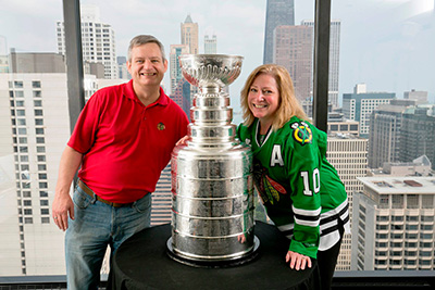 GSU's Joan Johns Maloney and Joe Maloney with the Stanley Cup!