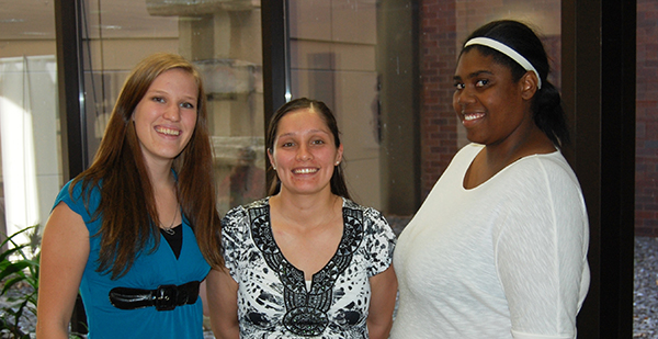 Leaders of the GSU Student Education Association include, from left: vice president Gwen Medrano, president Samantha Allen, and publications and social media officer Tanya Mathers.